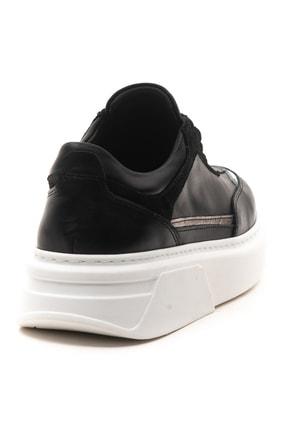 GRADA Kadın Siyah Hakiki Deri Bağcıklı Spor Sneaker Ayakkabı 4