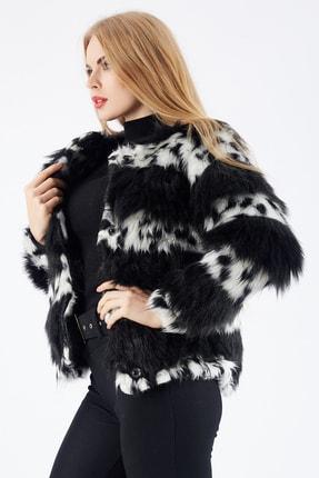 Sense Kadın Siyah Beyaz Çıtçıtlı Astarlı Peluş Ceket Ckt32378 3