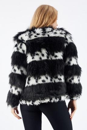 Sense Kadın Siyah Beyaz Çıtçıtlı Astarlı Peluş Ceket Ckt32378 4