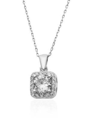 By Barun Silver Yuvarlak Baget Taşlı Pırlanta Model Gümüş Kolye-gümüş Rengi 1