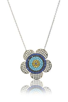 By Barun Silver Kadın Gümüş Rengi 925 Ayar Gümüş  Papatya Kolye  Kl-0300 0