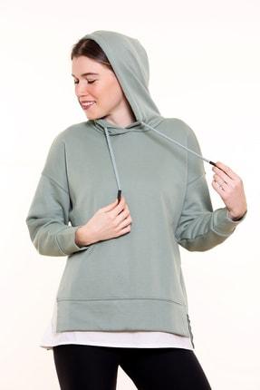 MARIQUITA Kadın Yeşil Mari Gömlekli Kapşonlu Sweat 2