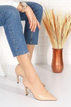 derithy Kadın Bej Topuklu Ayakkabı Rugan Byc2001 2