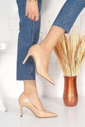 derithy Kadın Bej Topuklu Ayakkabı Rugan Byc2001 3