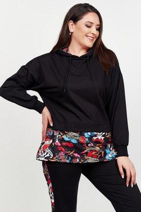 Womenice Kadın Siyah Eteği Renkli Desenli Büyük Beden Eşofman Takım 2