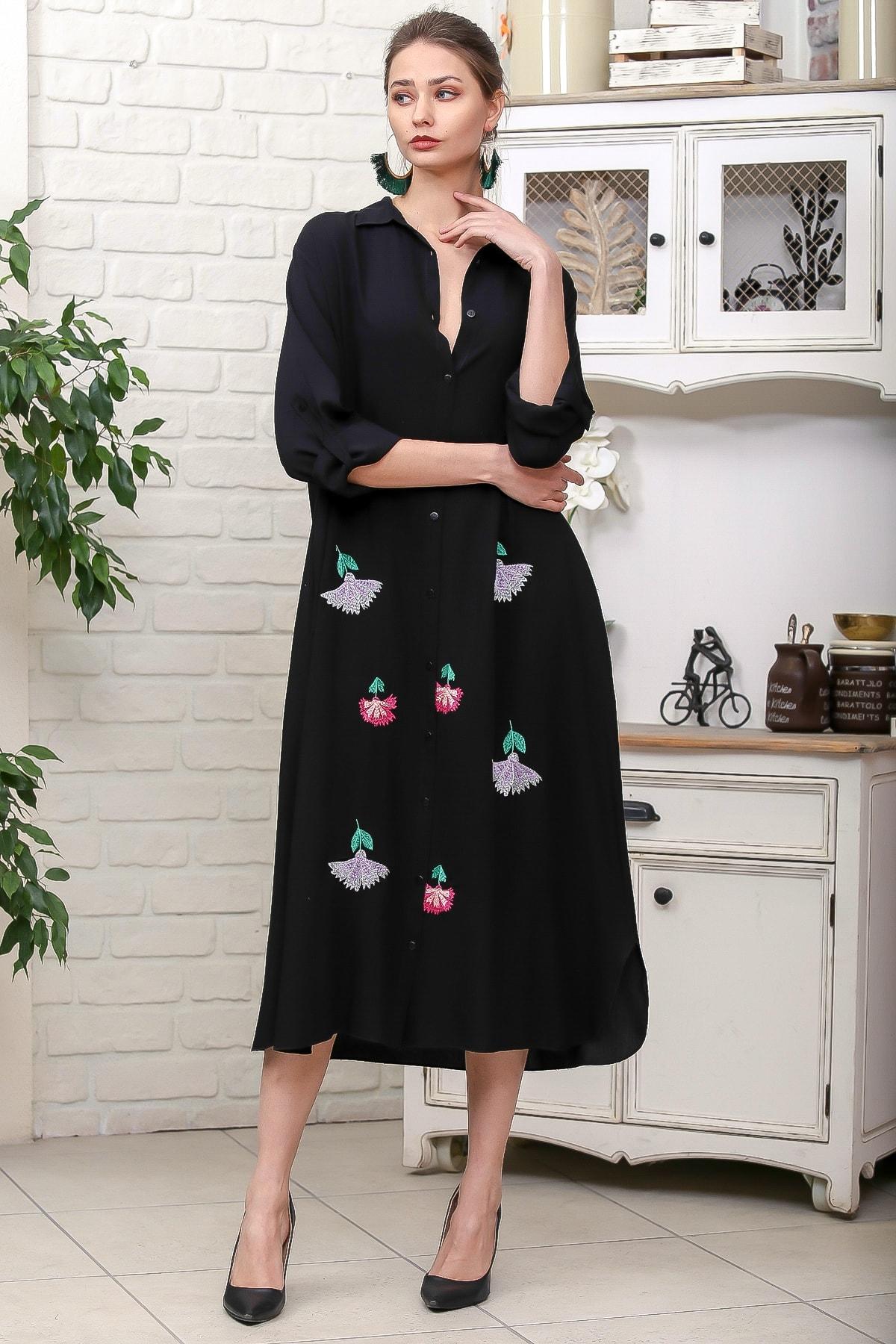 Chiccy Kadın Siyah Karanfil Nakışlı Sırt Detaylı Düğmeli Salaş Gömlek Elbise M10160000EL95923 1