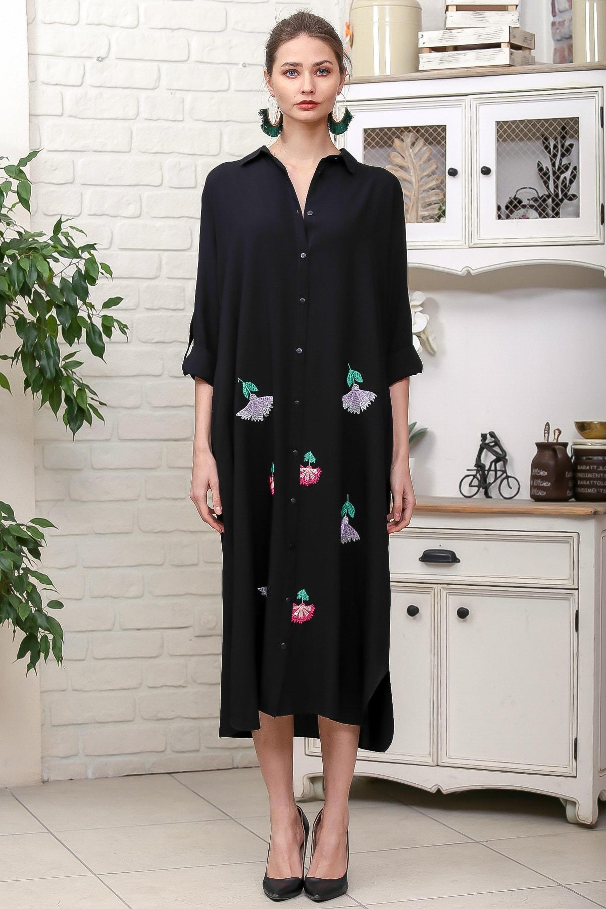 Chiccy Kadın Siyah Karanfil Nakışlı Sırt Detaylı Düğmeli Salaş Gömlek Elbise M10160000EL95923 3