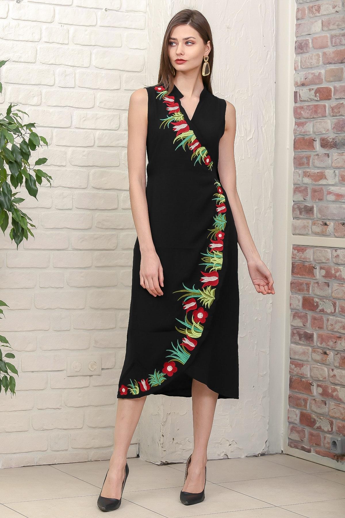 Chiccy Kadın Siyah Kruvaze Lale Nakışlı Ayaklı Yakalı Anvelop Kuşaklı Dokuma Elbise M10160000EL95887 1