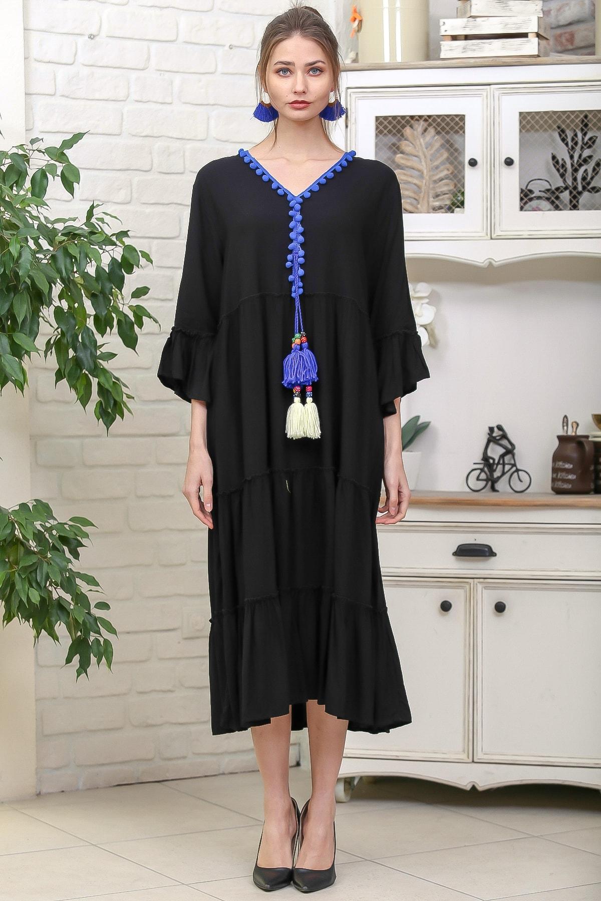 Chiccy Kadın Siyah-Mavi V Yaka Ponpon Detaylı Püsküllü Bağcıklı Salaş Dokuma Elbise M10160000EL95931 3