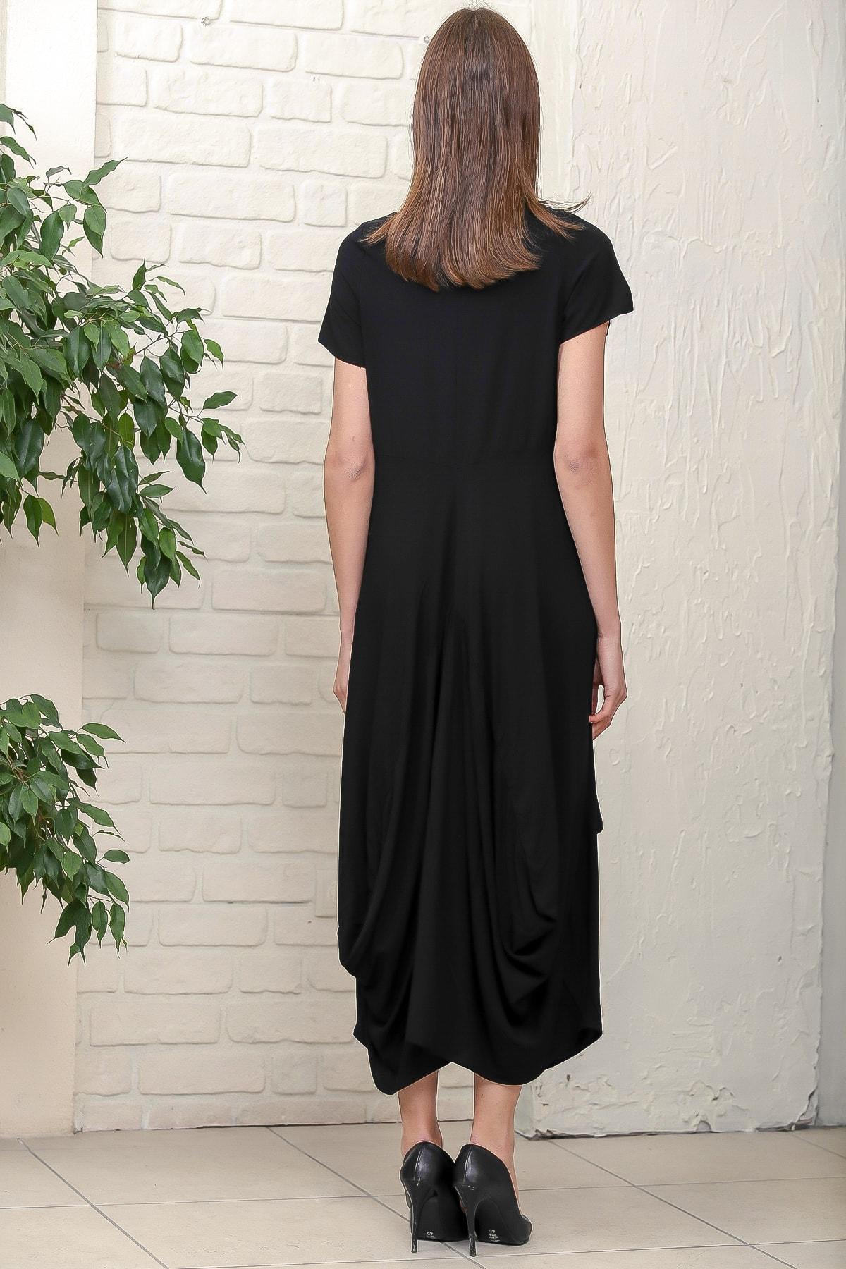 Chiccy Kadın Siyah Bohem Ayak Nakışlı Yarım Kollu Cepli Asimetrik Salaş Dokuma Elbise M10160000EL95884 4