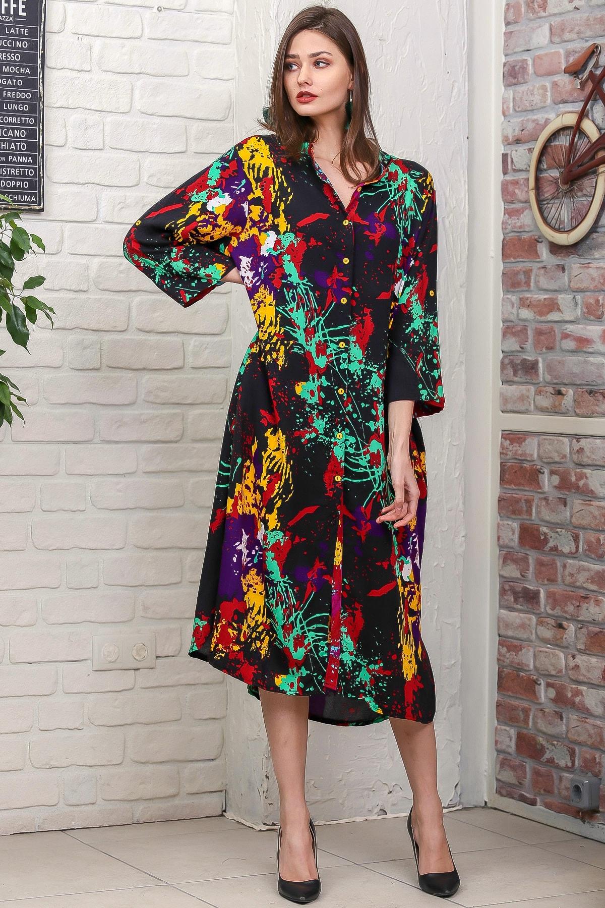 Chiccy Kadın Siyah Fırça Desen Yırtmaçlı Salaş Dokuma Gömlek Elbise M10160000EL95921 2