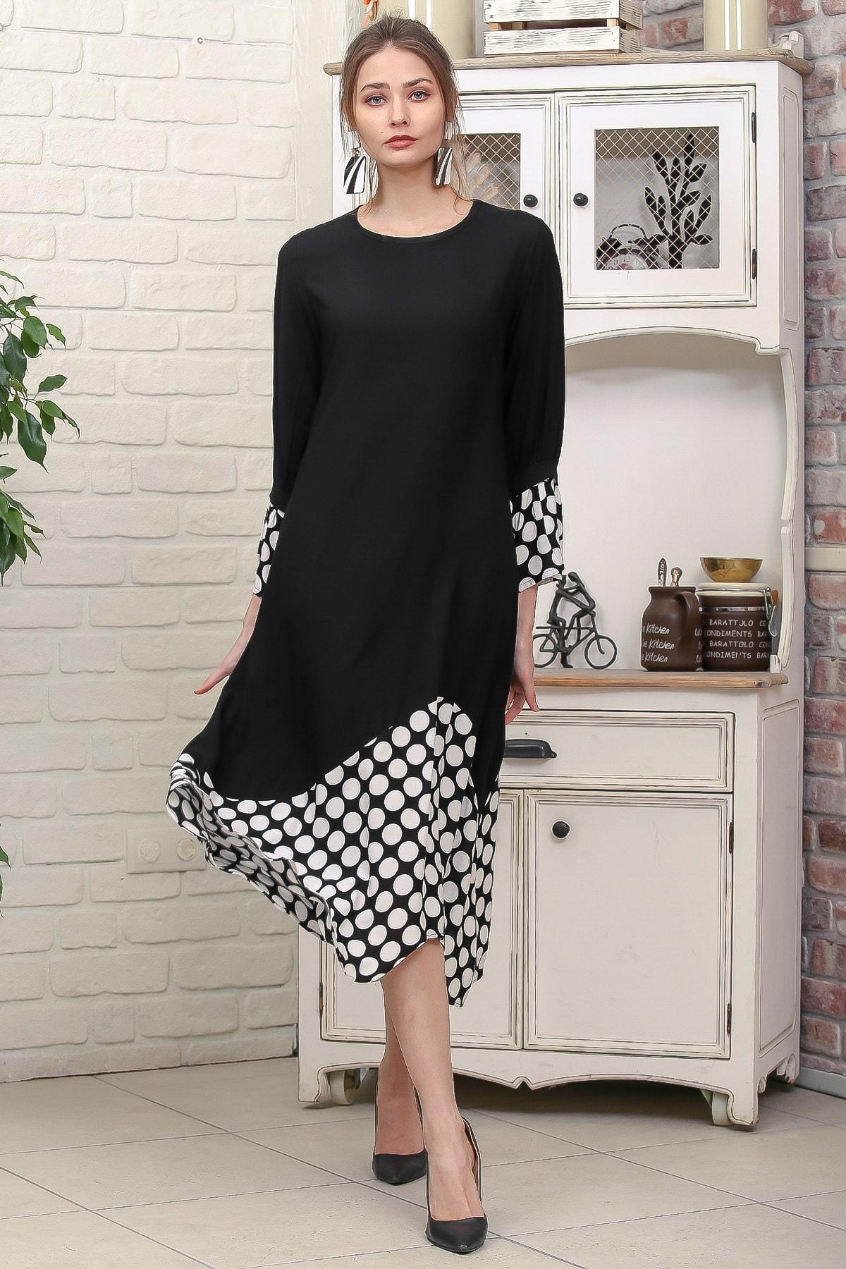 Chiccy Kadın Siyah Sıfır Yaka Puantiye Etek Ucu Bloklu 3/4 Kol Elbise M10160000EL95895 1