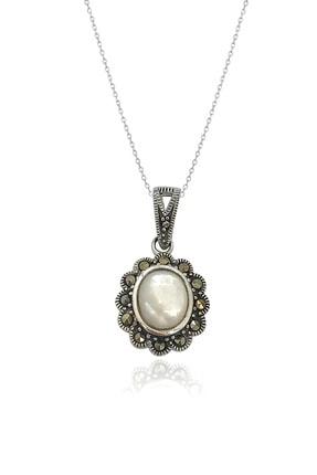 By Barun Silver Kadın Gümüş Rengi Markazitli Ay Taşı Kolye 0