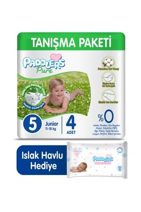 Paddlers Pure Bebek Bezi 5 Numara Junior 4 Adet (11-18 Kg)+ 40'lı Islak Havlu 0