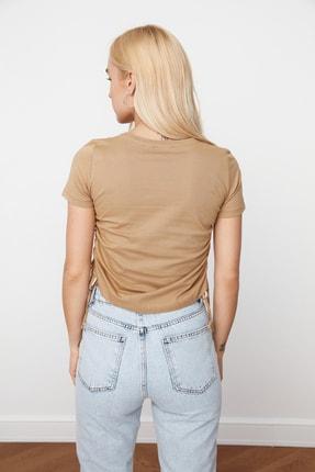 TRENDYOLMİLLA Camel Büzgülü Basic Örme T-Shirt TWOSS21TS0131 4