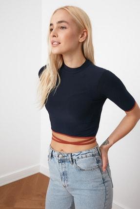 TRENDYOLMİLLA Lacivert Bağlama Detaylı Örme Bluz TWOSS20BZ0156 2