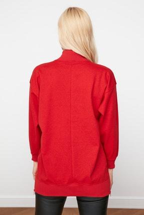 TRENDYOLMİLLA Kırmızı Uzun Oversize Örme Sweatshirt TWOAW20SW0322 4