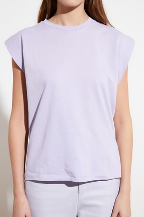 TRENDYOLMİLLA Lila Kolsuz Basic Örme T-Shirt TWOSS20TS0021 2
