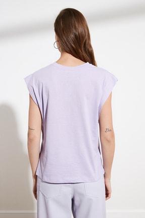 TRENDYOLMİLLA Lila Kolsuz Basic Örme T-Shirt TWOSS20TS0021 4