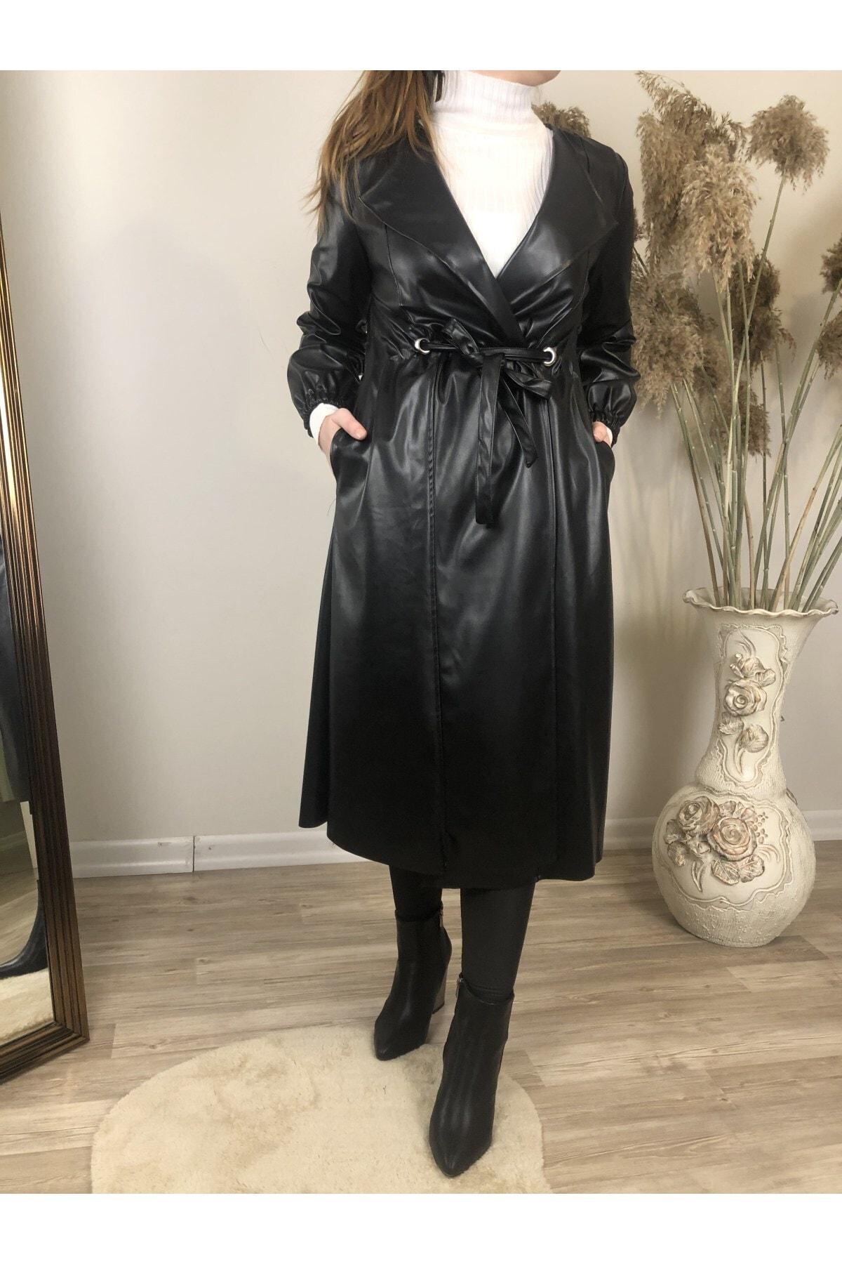 Kadın Siyah Suni Deri Uzun Ceket