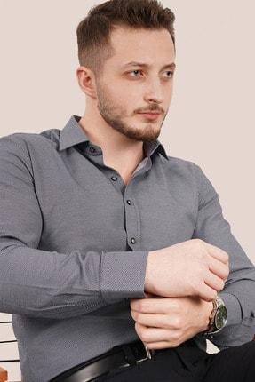 Etikmen Erkek Füme Armür Desenli Slimfit Gömlek 3