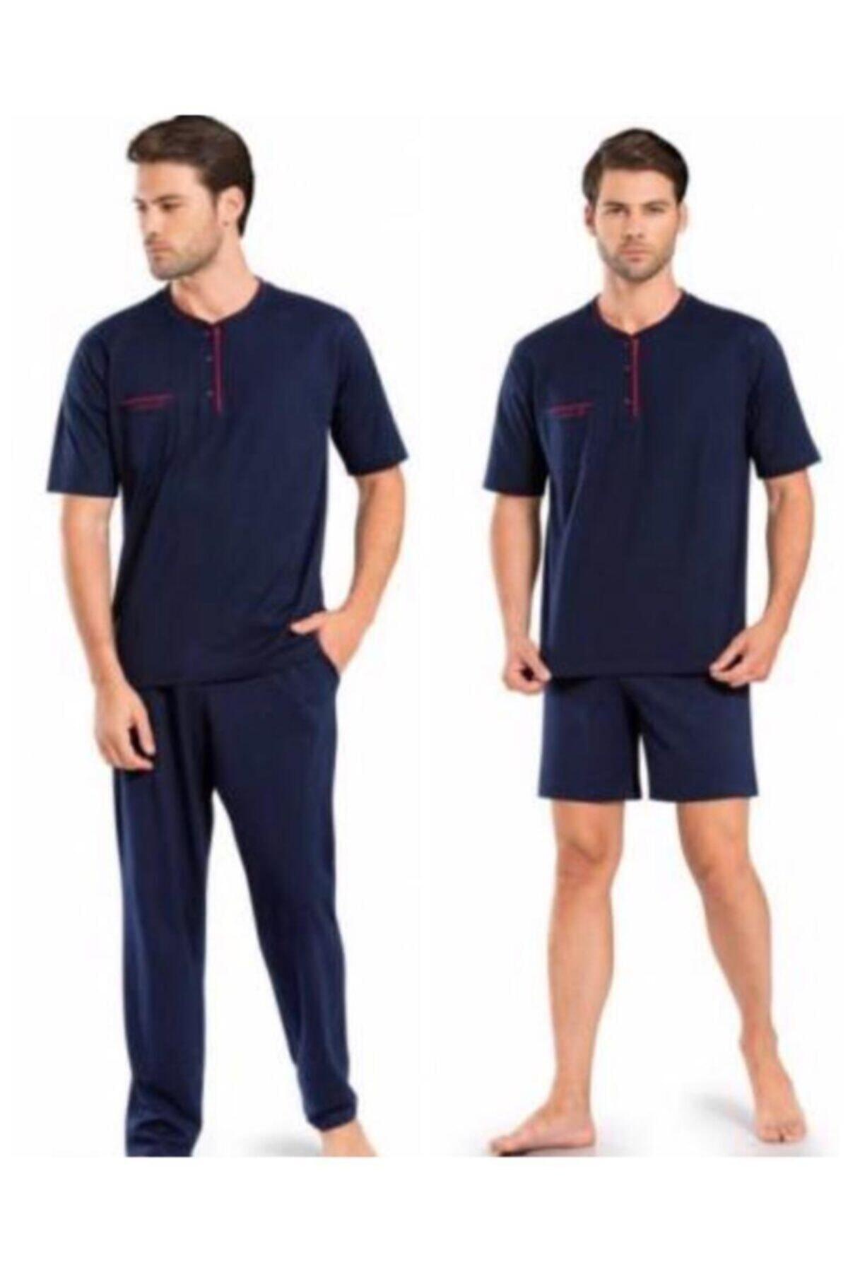 5370 Pijama Şort 3 Lü Damat Çeyiz Seti