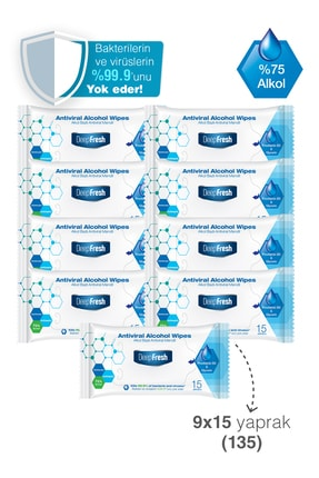 Deep Fresh Alkollü Antiviral Islak Cep Mendili 9'lu Paket 135 Yaprak 2