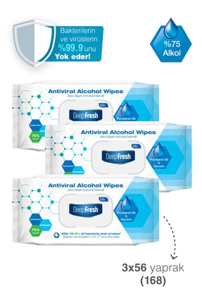 Deep Fresh Alkollü Antiviral Islak Mendil 3'lü Paket 168 Yaprak 2