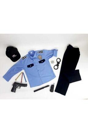 Liyavera Unisex Çocuk Mavi Polis Kostümü Kıyafeti 0