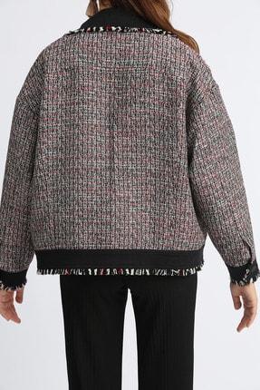 Esra İnceefe Kadın Siyah Tüvit Kumaş Kol Yaka Kenarlar Püskül Detaylı Ceket 1