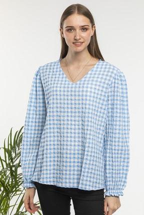 candybia Kadın Mavi V Yaka Ekose Desenli Bluz 1