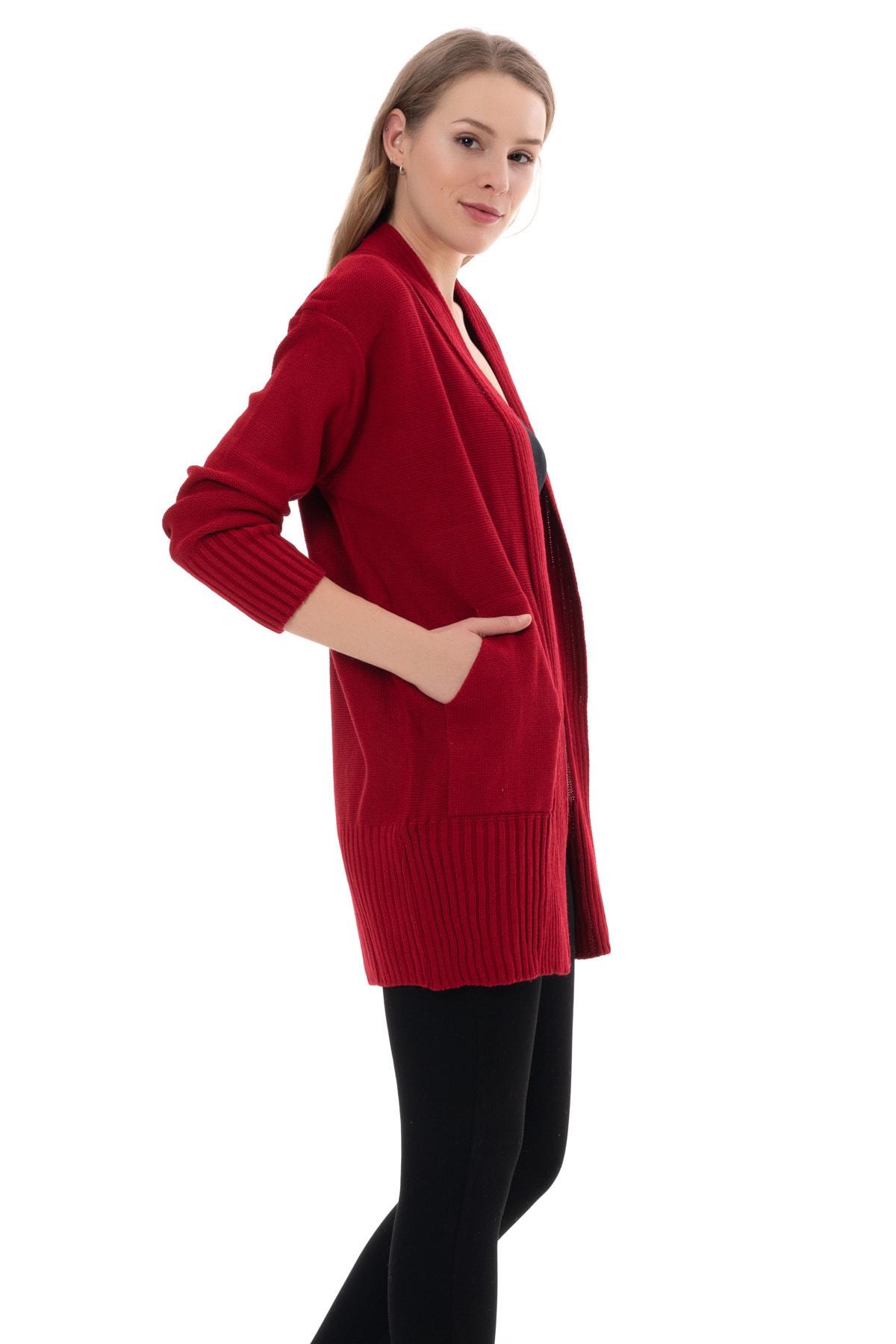 GANE Kadın Kırmızı Cepli Hırka
