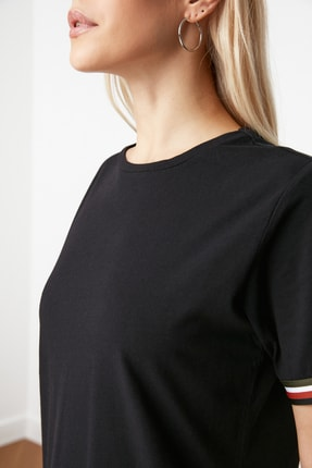 TRENDYOLMİLLA Siyah Şerit Detaylı Örme  Elbise TWOSS19FV0107 2