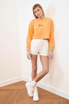 TRENDYOLMİLLA Şeftali Nakışlı Crop Örme Sweatshirt TWOSS20SW0150 3