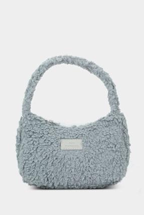 Housebags Kadın Gri Suni Kürklü Baguette Çanta 197 0