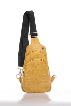 تصویر از Kadın Sarı Kroko Body Çanta