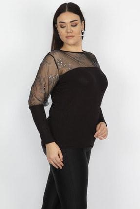 Şans Kadın Siyah Tül Ve Pul Payet Detaylı Bluz 65N22273 2