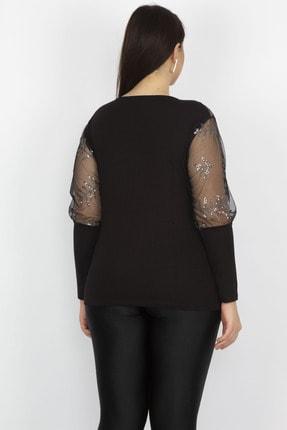 Şans Kadın Siyah Tül Ve Pul Payet Detaylı Bluz 65N22273 3