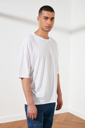 TRENDYOL MAN Beyaz Basic Erkek Oversize Bisiklet Yaka Kısa Kollu T-Shirt TMNSS21TS0811 4