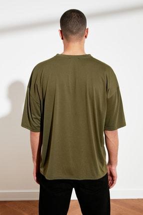 TRENDYOL MAN Haki Basic Erkek Oversize Bisiklet Yaka Kısa Kollu T-Shirt TMNSS21TS0811 4