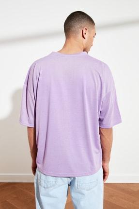 TRENDYOL MAN Mor Basic Erkek Oversize Bisiklet Yaka Kısa Kollu T-Shirt TMNSS21TS0811 4