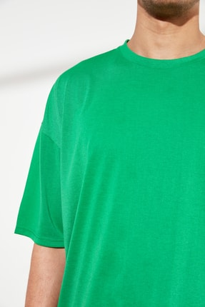 TRENDYOL MAN Yeşil Basic Erkek Oversize Bisiklet Yaka Kısa Kollu T-Shirt TMNSS21TS0811 3