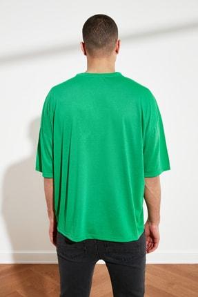 TRENDYOL MAN Yeşil Basic Erkek Oversize Bisiklet Yaka Kısa Kollu T-Shirt TMNSS21TS0811 4