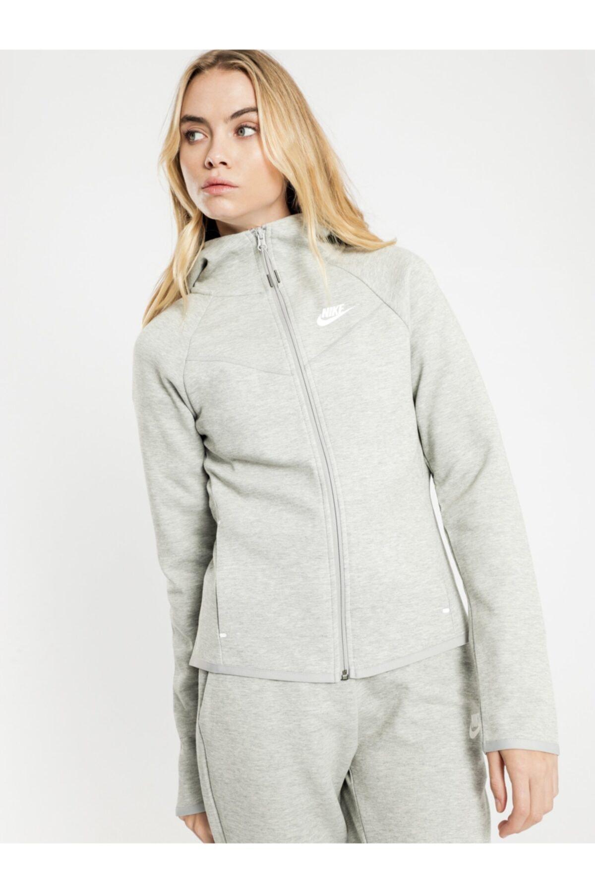 Kadın  Gri Tech Fleece Kapüşonlu Sweatshirt