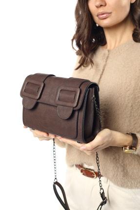 Madamra Aynı Butikte 2. Ürün 1 TL Kahverengi Süet Kadın Kemerli Kapaklı Kutu Omuz Çantası 0