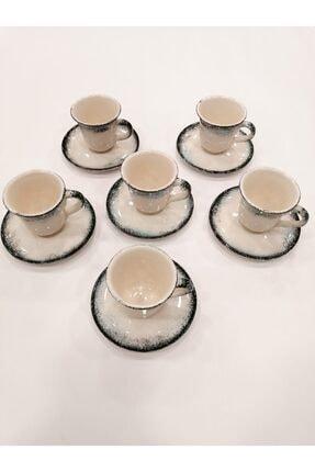 Gül Çini Takı 6 Kişilik Boncuk Mavi Seramik Kahve Fincanı Takımı 1