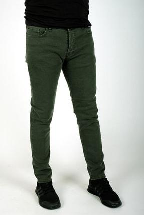 bombe Erkek Slim Fit Dar Kesim Kot Pantolon Haki Yeşil 2