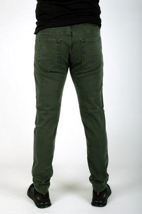 bombe Erkek Slim Fit Dar Kesim Kot Pantolon Haki Yeşil 4