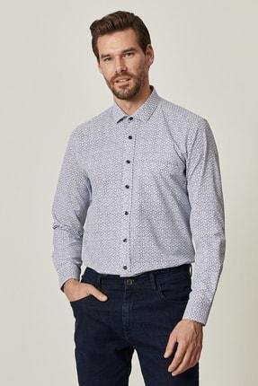 Altınyıldız Classics Erkek Lacivert Tailored Slim Fit Dar Kesim Küçük İtalyan Yaka Baskılı Gömlek 1