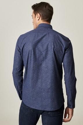 Altınyıldız Classics Erkek Lacivert Tailored Slim Fit Dar Kesim Küçük İtalyan Yaka Baskılı Gömlek 2
